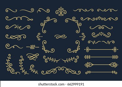Set Collection of Vintage Ornament Elements on Black Background