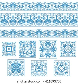 Set collections of old Greek ornaments. Antique borders and tiles in blue color isolated on the white background. Ethnic patterns. Vector illustrations.