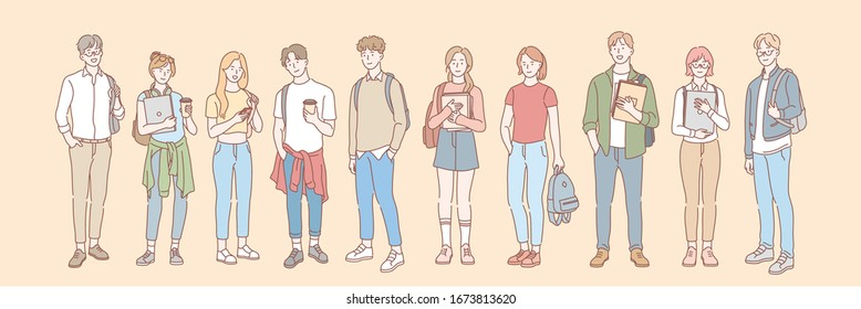 Set of college student, pupil concept. Group of young men and women students teenagers, pupils with books, backpacks. University, college life. Education, learning, study process. Simple flat vector