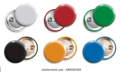 Set of color 3d blank badges,round buttons,pin buttons isolated. Vector template,vector realistic illustration,mockup