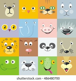 Set of color animal faces vector. Flat design. Mammals and birds heads cartoon icons. Illustrations for nature concepts, children's books illustrating, printing materials, web. Funny masks or avatars
