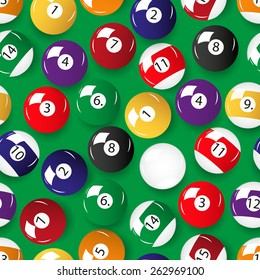set of color billiards balls seamless pattern eps10