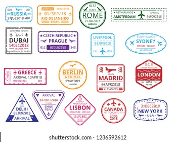 Set of color border custom stamps in passport isolated on white background. International tourism, travelling, vacations, immigration, business trip. Vector paper illustration.