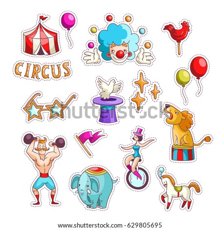 set color carnival stickers hand drawn stock vector royalty free
