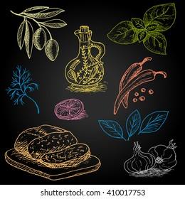 Set of color chalk drawn on a blackboard food, spices. Olive oil, pepper, bread, olive branch, leaves, lemon, basil, dill. Hand drawn vector illustration.