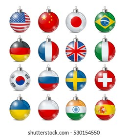 Set of color Christmas balls with flags. Isolated realistic decorations. Vector illustration.