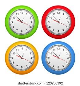 Set of color clocks, vector eps10 illustration
