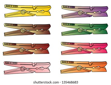 Set of color clothespins. Vector.