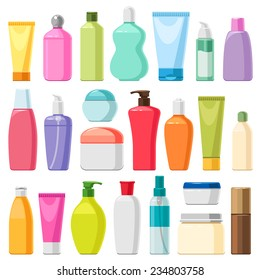 Set of color cosmetic bottles, isolated on white for your design