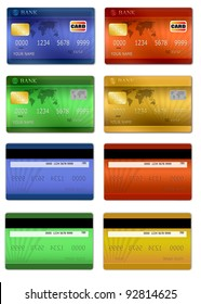 Set of color credit card front and back view, vector illustration