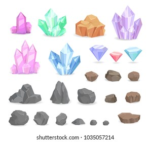 Set of color crystals and minerals, precious and semi precious diamonds, natural rocks and heavy stones vector. Multicolor minerals, crystallized gems