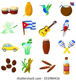 Set of color Cuba icon. Cuban flag, national musical instruments, mojito, rum, cigars, vintage car, cocktail, coconut, coffee, sugar cane, hummingbirds
