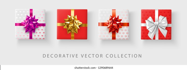 Set of color decorative gifts with hearts pattern and satin bow isolated on white background. Top view. Festive design for St. Valentine's Day gifts. Vector illustration.