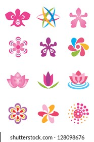 Set of color design elements, stylized abstracted flowers. Vector illustration.