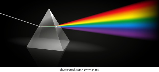 set of color dispersion through prism or triangular prism break lights into spectral color or various color passing through triangular prism concept. eps 10 vector