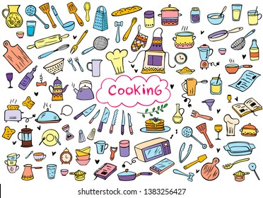 Set of color doodle kitchen tools on white background. Doodle kitchen equipments. Vector illustration. Can be used for wallpaper, pattern fills, textile, web page background, surface textures.