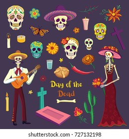 Set of color drawings in Cartoon style Day of the Dead. Mexican symbols