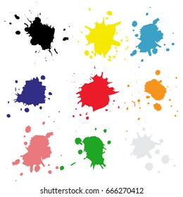 Set color drops of paint and stains, ink blots. Vector ink texture.