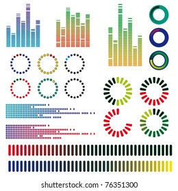 A set of color equalizers. Vector illustration