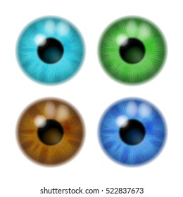 Set the color of the eye lens to the eye on a white background. Vector illustration. EPS 10