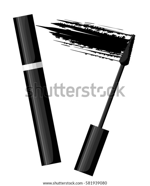 Set of color eye mascara. Vector fashion sketch makeup contrasty glamour in vogue style. Isolated elements on white background eye