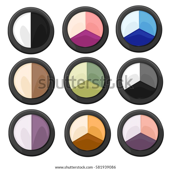 Set of color eye shadows. Vector fashion sketch makeup contrasty glamour in vogue style. Isolated elements on white background eye