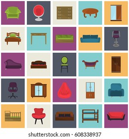 Set of color flat furniture icons for web and mobile design