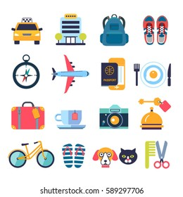 set of color flat icons for summer travel