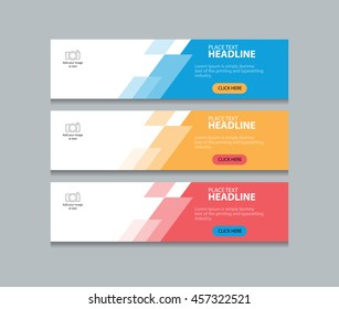 set color flat vector abstract web banner design template background