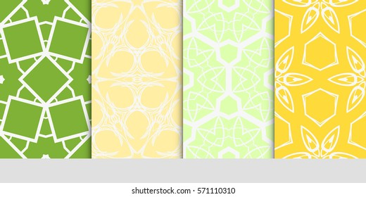 set of color floral, linear geometric ornament. modern pattern. seamless vector illustration. for interior design, textile, wallpaper