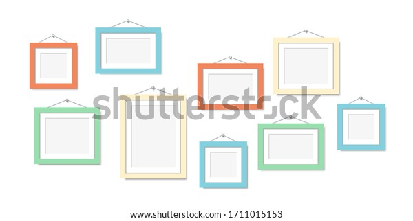 Set color frames for photos or pictures hanging on the wall. Vector mock up. blank frame art gallery.