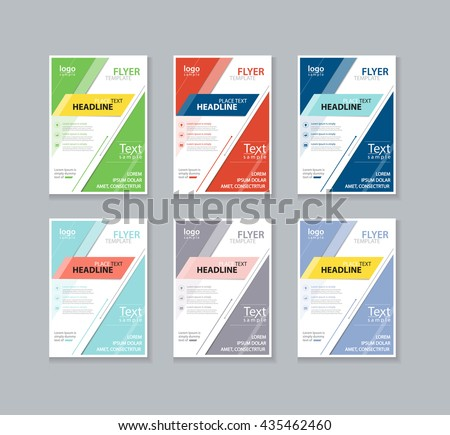 set color full page brochure flyer stock vector royalty free