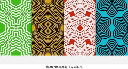 set of color geometric pattern of abstract lines and shapes. Seamless vector illustration. For design, wallpaper, background fills, card, banner, flyer. color
