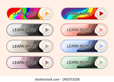 Set of color gradient stripes buttons design with muticolor and plastel color for web or app