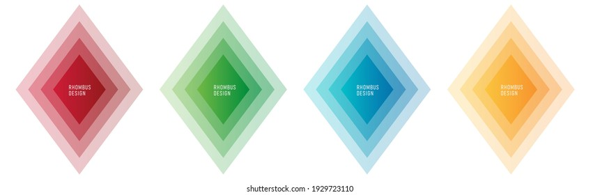 Set of color graphic elements of rhombus shape, layers of color overlap with empty place for copy inside, isolated