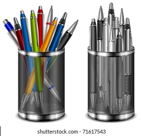 Set of color and grey pens in supports glass, vector illustration