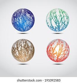 Set of color grunge globes
