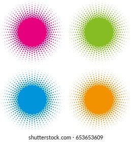 Set of Color Halftone circle frames vector design elements on white background. Halftoned Dots Flash Light With Fade Effect of Halo. Optical Illusion of Half Tone Spirograph Flower.
