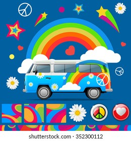 Set of color hippie vector items. Hippie van, rainbow, clouds, star, symbol of peace, chamomile, circle. Vector Illustration.