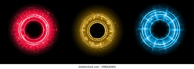 Set of color hologram portal. Magic fantasy portal. Magic circle with halo effect. Vector color glow scifi teleport with sparks and hologram, technology background