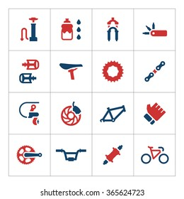 Set color icons of bicycle parts and accessories