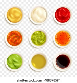 Set of color icons depicting different sauce in plate vector illustration