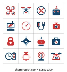Set color icons drones isolated on white. Vector illustration