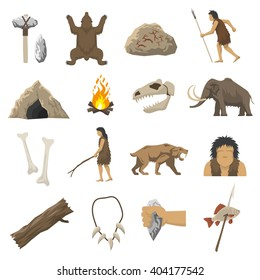 Set color icons with elements of life in stone age caveman cave bonfire mammoth bone isolated vector illustration