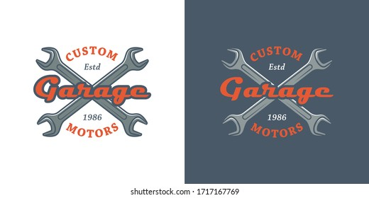 Set of color illustrations crossed wrenches, text on a colored background. Vector illustration advertise workshop for transport repair services. Auto repair shop logo.