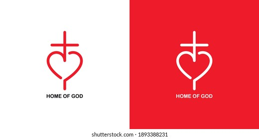 Set of color illustrations heart, cross, text on a white and red background. Vector illustration for emblem, badge, sticker. Christian symbolism. Church logo.