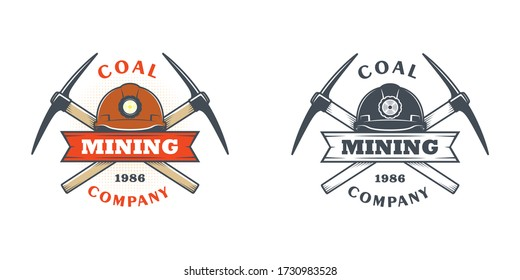 Set of color illustrations of a helmet, crossed pickaxes and a ribbon with text on a white background. A vector illustration advertises a coal and gold mining company. Mining company logo.