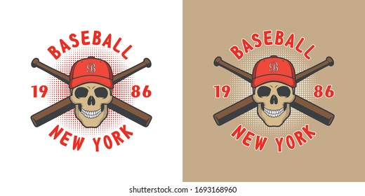 Set of color illustrations of a skull in a baseball cap, crossed baseball bats and text on a colored background. Vector illustration on the theme of sports and baseball. Illustration for stickers.