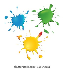 Set of color ink blots, isolated on white background. Blue, green, yellow. Light reflection. Vector illustration.