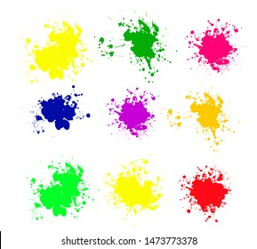 Set of Color ink splashes. Grunge splatters. Abstract background. Grunge text banners